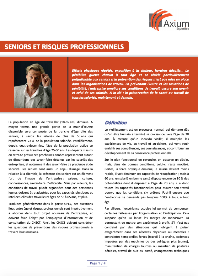 Seniors et risques professionnels